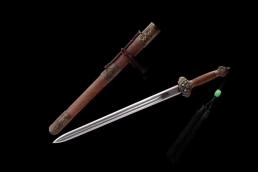 鸡翅木永乐剑锰钢六面双半槽|龙泉宝剑|高碳钢