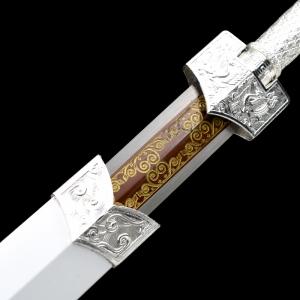 金属鞘四兽银装刻花八面汉剑 汉剑 高锰钢 金属鞘金属柄 ★★
