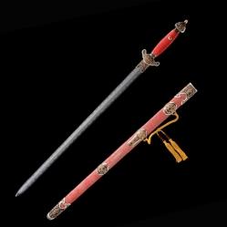 羽毛纹覆土烧刃财神剑|龙泉宝剑|羽毛纹花纹钢|★★★★